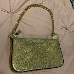 Authentic Michael Kors gold mini purse NEW
